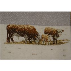 "Herefords In Winter, cross stitch, by BJM, 11"" x 15"""