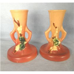 """Roseville Snowberry dusty rose candlestick pair, 5"""", 105-2"""