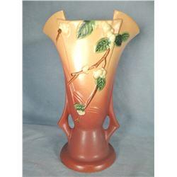 "Roseville Snowberry dusty rose vase, 12"", 1 V2"