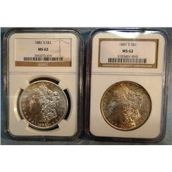 2 - 1881 S Morgan dollars, both NGC 62