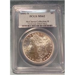 2 Morgan dollars, 1881 S, PCGS 62 and 1881 S, NGC MS 64