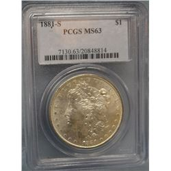 2 Morgan dollars, 1881 S, PCGS 63 and 1883, PCI MS 65