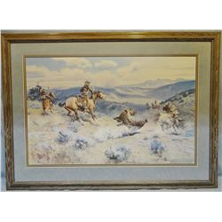 """Russell, C.M., Loops and Swift  Horses Are Surer Than Lead, framed print, 23"""" x 36"""""""