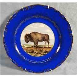 """Bison hand painted plate, 10"""""""