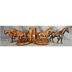6 pcs. brass bookends, banks and horse