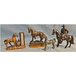 10 pcs. brass small horses, saddles, sombrero, goldpanner