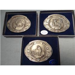 3 pewter buckles MT Centennial-Mule deer, antelope and bighorn sheep