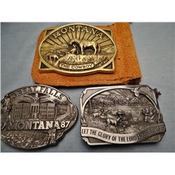 3 buckles MT Centennial - Bob Scriver, brass; Great Falls 1987, pewter; religious -pewter