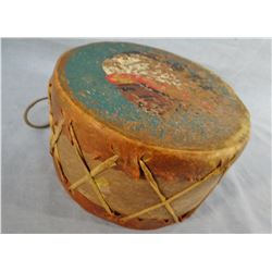 "Indian child's drum, hand painted, 7"" diam. X 4"" h, early 1900's"