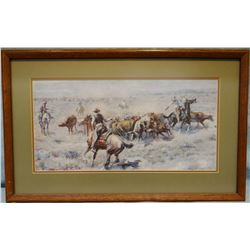 "Russell, C.M., The Roundup No. 2, framed print, 9"" x 18"""