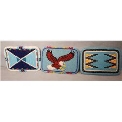 3 Indian beaded belt buckles