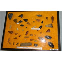 Tray of 44 Indian artifact points, scrapers and tools. Source: Oregon
