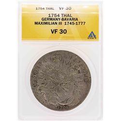 1754 Germany-Bavaria Maximilian III Thaler Coin ANACS VF30