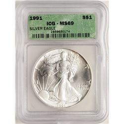 1991 $1 American Silver Eagle Coin ICG MS69