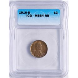 1916-D Lincoln Wheat Cent Coin ICG MS64RB