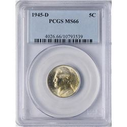 1945-D Jefferson Nickel Coin PCGS MS66