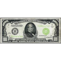 1934 $1,000 Federal Reserve Note New York Light Green Seal