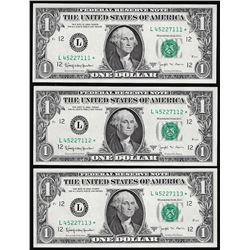 Lot of (3) Consecutive 1963B $1 Federal Reserve Barr STAR Notes