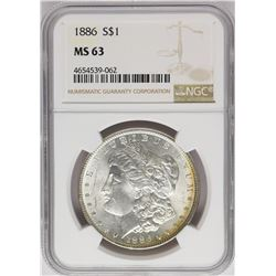 1886 $1 Morgan Silver Dollar Coin NGC MS63 Amazing Toning
