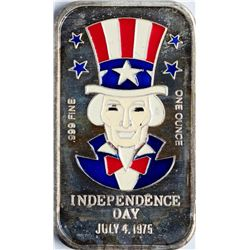 July 4, 1975 Independence Day Enamel Silver Art Bar