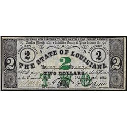 1862 $2 State of Louisiana Obsolete Note