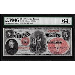 1878 $5 Woodchopper Legal Tender Note Fr.69 PMG Choice Uncirculated 64EPQ