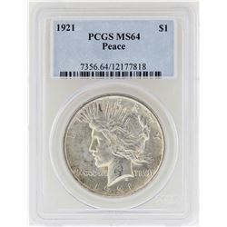 1921 $1 Peace Silver Dollar Coin PCGS MS64