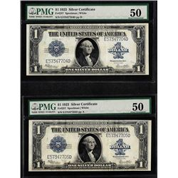 Lot of (2) Consecutive 1923 $1 Silver Certificate Notes Fr.237 PMG About Uncircu