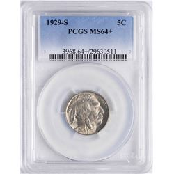 1929-S Buffalo Nickel Coin PCGS MS64+