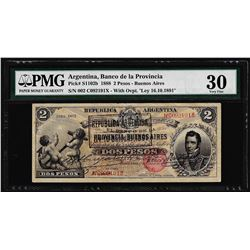 1888 Argentina Dos Peso Banco de La Provincia Bank Note PMG Very Fine 30