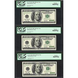 Lot of (3) Consecutive 2001 $100 Federal Reserve STAR Notes PCGS Gem New 66PPQ