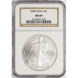 2008 $1 American Silver Eagle Coin NGC MS69