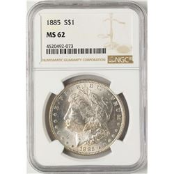 1885 $1 Morgan Silver Dollar Coin NGC MS62