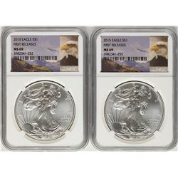 Lot of (2) 2015 $1 American Silver Eagle Coins NGC MS69 First Releases