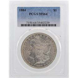 1884 $1 Morgan Silver Dollar Coin PCGS MS64