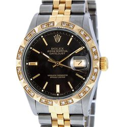Rolex Mens Two Tone 14K Black Index Pyramid Diamond Bezel Datejust Wristwatch