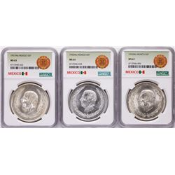 Lot of 1951Mo-1953Mo Mexico 5 Pesos Silver Coins NGC MS63