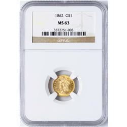 1862 Type 3 $1 Indian Princess Head Gold Dollar Coin NGC MS63