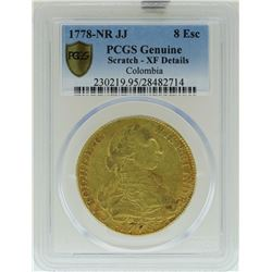 1778-NR JJ Columbia 8 Escudos Gold Coin PCGS XF Details