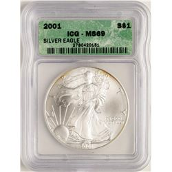 2001 $1 American Silver Eagle Coin ICG MS69