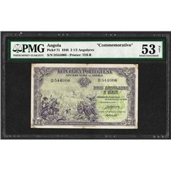 1948 Angola 2 1/2 Angolares Commemorative Bank Note PMG About Uncirculated 53 Ne