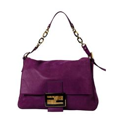 Fendi Glitter Mamma Magenta Suede Shoulder Bag