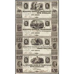 Uncut Sheet 1800's $1/$2/$3/$5 Millers Bank of Washtenaw, MI Obsolete Bank Note