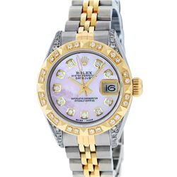 Rolex Ladies Two Tone 14K Pink MOP Diamond Lugs & Pyramid Datejust Wriswatch