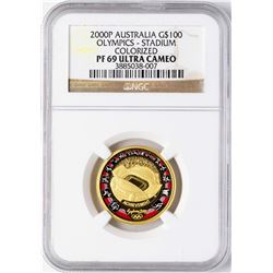 2000P Australia $100 Olympics Stadium Commemorative Gold Coin NGC PF69 Ultra Cam