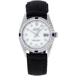 Rolex Mens Stainless Steel Diamond & Sapphire 36MM Datejust Wristwatch w/ Nylon