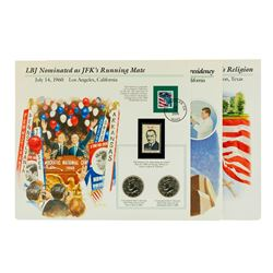 Group of (3) Kennedy Half Dollar Coin & Stamp Commemorative Sets