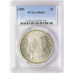 1885 $1 Morgan Silver Dollar Coin PCGS MS64