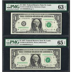 MATCHING LOW SERIAL NUMBERS 1977 & 1981 $1 Federal Reserve Notes PMG Unc. 63/65E