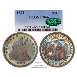 1872 Proof Seated Liberty Quarter Coin Coin PCGS PR66 CAC Amazing Toning